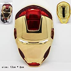 Marvel Avengers Heavy Face Mask Style Metal Shining Shield Hand Accessory with Strap to hold 10-12 cms For Kids / Adults (Iron Man)