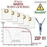 Makita VC 2511L & Vc 2512L wiederverwendbar * Zip, selbstreinigend Vliesfiltertüten–Mehr effizient Ersatz (5Stück)