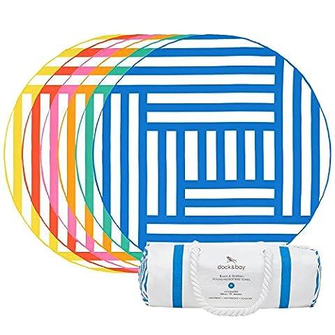 Round Beach Towel (Blue - Maze Design - 190cm) - extra large round towel, sand free beach blanket