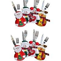 Harlem H 8pcs Porte-Couverts Bonhomme de Neige / Santa Clause / Elk Noël Titulaire d'Couverts Poche Coutellerie Sac de Vaisselle Décoration de Table Noël