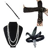 ResPai 1920s Jahre Accessoires Flapper Set Stirnband Perlen Halskette Lange Schwarze Handschuhe Zigarettenspitze Great Gatsby Motto Party Kleider Damen Kostüm Accessoires (Elizabeth)