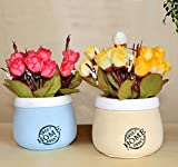 #4: TIED RIBBONS Artificial Flowers with Pot for office table living room bedroom gift(Set of 2)