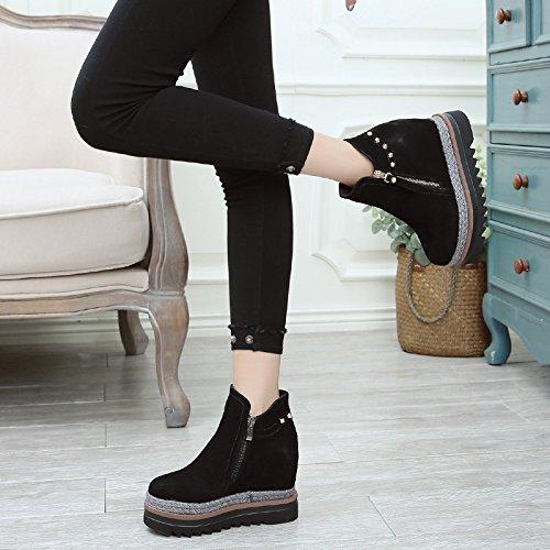 GTVERNH-Frühjahr Und Herbst Stiefel Weibliche 11Cm Die Neue Plattform Schuhe Weibliche Winter Koreanischen Heels Alle Treffer In Frauen Schuhe 34 Schwarz (Stiefel Schwarze Beine Schnalle Plattform)