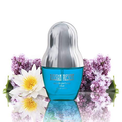 Russian Present BLUE Eau de Parfüm Spray für Damen/femme/women, 35 ml Flakon - Frischer blumiger Duft, das beste Geschenk für Sie + SEI EINZIGARTIG! -