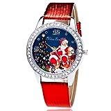 Newin Star Weihnachten Armbanduhr Kunstleder-Band Quarz-Uhr für Damen Exquisite Elegante Mädchen Frauen Armbanduhr mit Strassrand Gutes, Weihnachtsmann