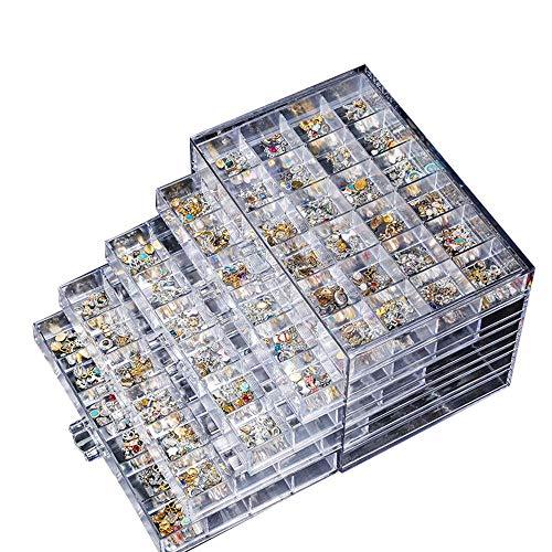 Yunjiadodo Nagelschmuck, 5 Schichten, 120 Gitternetz, durchsichtig, Dicke Acryl-resistente Schublade, Schmuckbox, wasserdicht und staubdicht