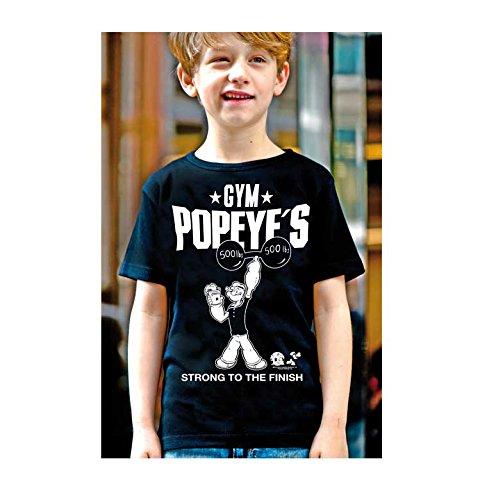Popeye der Seemann - Popeye's Gym T-Shirt Kinder Jungen - schwarz - Lizenziertes Originalsdesign - LOGOSHIRT, Größe 170/176, 15-16 Jahre (Popeyes Gym)
