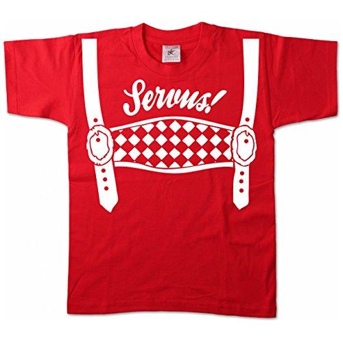 Artdiktat Kinder Oktoberfest T-Shirt - Kids - Servus! Größe 152/164, rot