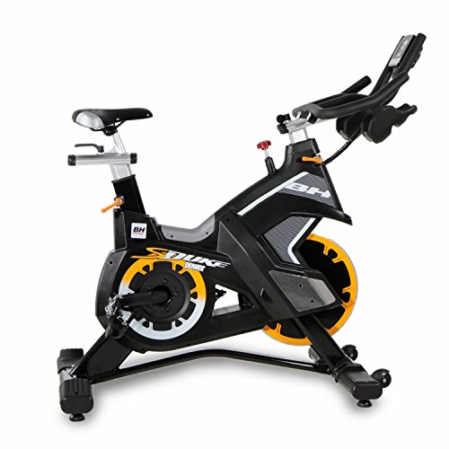 51zH9qKxixL. SS500  - Bh Fitness Unisex's Superduke Power Spinning Bikes, Black Yellow, Large