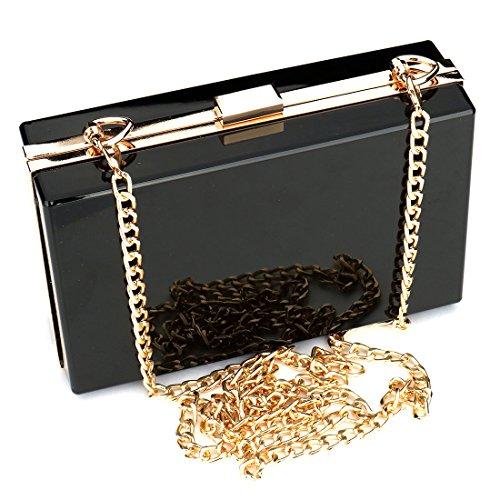 Frauen Jelly Handtasche Abend Handtasche Transparent Clear Box Kupplung Acryl Umhängetasche Geldbörse Tasche Damen Geschenk ideal, Schwarz (Box-clutch-schwarz-abend-taschen)