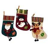 Weihnachtsbaum-Dekoration, Weihnachts-Socke, Set mit 3 Motiven: Santa Claus, Schneemann, Rentier, Weihnachtsstrumpf-Geschenk, 27,9cm