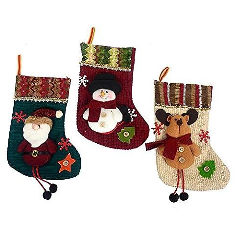 Weihnachtsbaum-Dekoration, Weihnachts-Socke, Set mit 3 Motiven: Santa Claus, Schneemann, Rentier,
