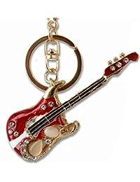 Llavero de Guitarra eléctrica, metal y cristal, estrás, colgante bolso de mano/