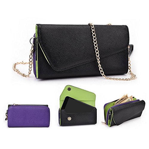 Kroo d'embrayage portefeuille avec dragonne et sangle bandoulière pour Wiko Getaway/Lenny Multicolore - Black and Green Multicolore - Black and Purple