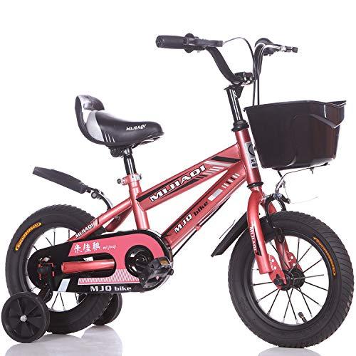 1-1 18 Zoll Jungs' Mädchen Fahrrad, Verstellbare Höhe Doppelbremse Rutschfest Sicherheit Kinder Draussen Kinder Radfahren Spielzeug,Pink
