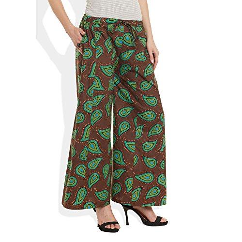 Baumwolle bedruckt Palazzo-Hose für Frauen Indian Braun Grün