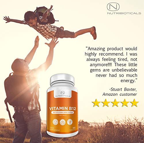 51zHAvD9aBL - Vitamina B12 Metilcobalamina 1000mcg 365 Tabletas (Suministro para 12 Meses) | Reducción del cansancio y la fatiga y normalización de la función del sistema inmunológico