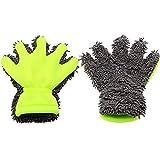 Jlcen 2PCS cinque dita in ciniglia microfibra Lavare pulito guanti per auto e moto lavaggio asciugatura asciugamani da cucina Clean color lavavetri in grigio/verde