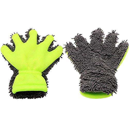 jlcen 2pcs cinco dedos guantes de lavado de microfibra Chenille lavado de...