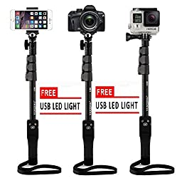 SAFEBUY Yunteng YT-1288 Extendable Camera Shooting Handheld Monopod Tripod Mount Holder for Iphone 6plus 6 5s 5c 5 4s 4 Ipod Etc. (Model YT-1288) +FREE HIGH QUALITY LED LIGHT