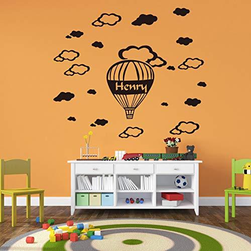 Einer Wolke Anpassbare Name Wandaufkleber Für Wohnzimmer Dekoration Abnehmbare Vinyl Wand-dekor Grau M 30 cm X 37 cm ()