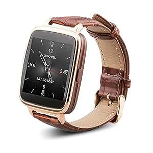 OUKITEL A28 Bluetooth 4.0 SmartWatch en Cuir IP53 Étanche Pour Smartphone Android & IOS Montre Bluetooth Anti-perte Rythme Cardiaque Sync Appel Message - Brun