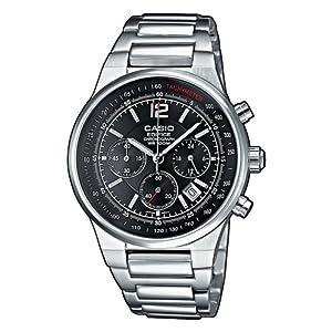 Casio EDIFICE Reloj en caja sólida, 10 BAR, Negro, para Hombre, con Correa de Acero inoxidable, EF-500D-1AVEF