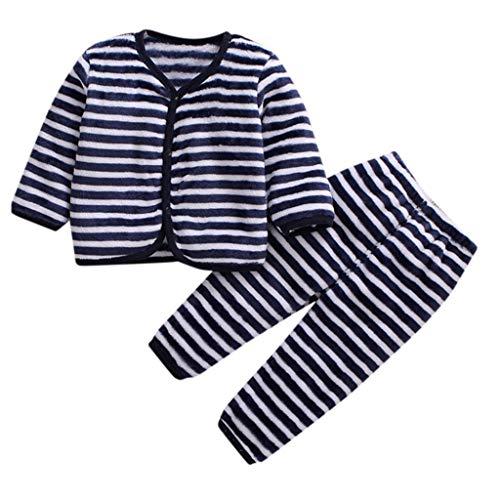Livoral Kinder Wintermantel Jacke Junge Neugeborenes Baby Boy Fleece warm verdicken Top Hosen Set Pyjamas Pyjamas Kleidung(A,1-2 Jahre)