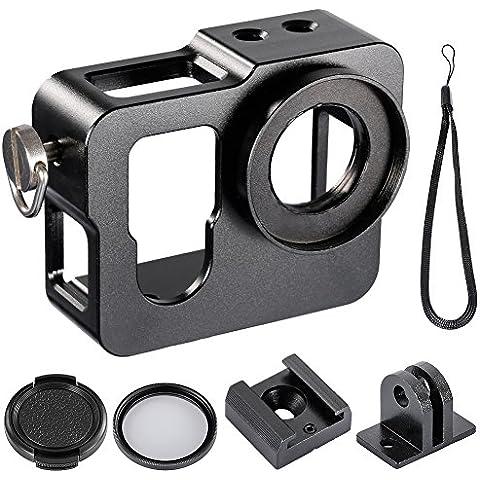 Neewer® Esqueleto metálico, caja sólida y gruesa de protección 37MM Filtro ultravioleta + 37MM Tapa de lente que se puede tapar de golpe para la cámara de Gopro Hero 4 (Negro)