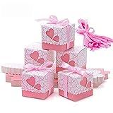 Scatole Portaconfetti - Meersee 100 pz Scatole Portaconfetti di Carta Bomboniere Regalo Segnaposti Decorazioni per Festa Matrimonio Battesimo Compleanno (Rosa)