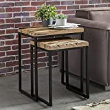 Wohnling 2er Set Design Satztisch BELLARY Beistelltisch 2-Teilig Massivholz Tisch | Industrie Anstelltische Eckig Modern Holztisch mit Metallbeinen | Loft Wohnzimmertisch Modern