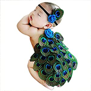 Babymoon (Set of 2) Baby Peacock Designer (Tiara & Butt Cover) Beautiful Costume, Baby Photography Prop, Best Baby Shower Gift