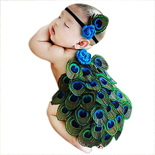 4b1321804 BabyMoon Kids Peacock Tiara and Butt Cover Photography Prop,Small  (Multicolour) – Set Of 2