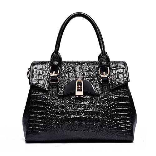Mefly Neue Leder Handtasche modische Taschen und Beutel black