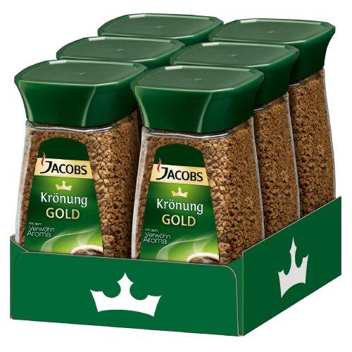 Jacobs Krönung Gold, Instant Kaffee, Getränkepulver zum Aufgießen, 6 x 200g, 60459