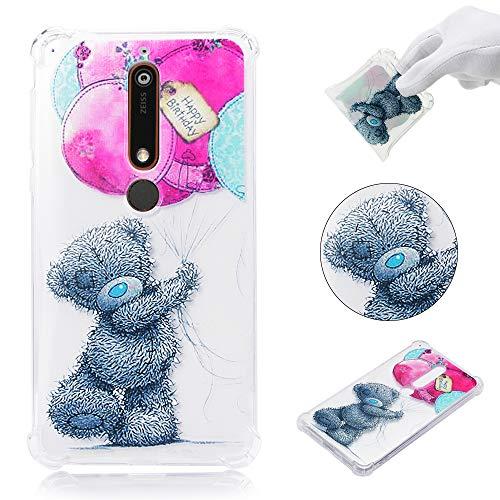 .1 / Nokia 6(2018) Hülle Silikon Transparent mit Lustig Muster Ultra Dünn Slim Hüllen Durchsichtig Klar Gummi Bumper [Luftkissen] Handyhülle Case Cover,Bär + Rosa Ballon ()