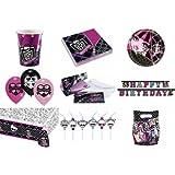 64-teiliges Party Set Monster High Teller, Becher, Servietten, Tischdecke, Einladungskarten, Partykette, Partytüten, Trinkhalme, Luftballon