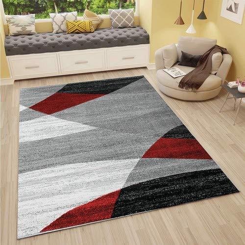VIMODA Alfombra Moderna de diseño con Dibujo geométrico en Gris, Blanco, Negro y Rojo - Material Certificado...