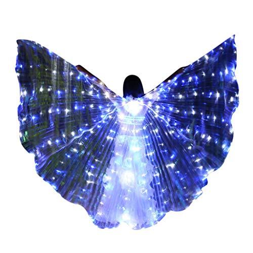 ZHANSANFM Farb LED Isis Flügel Schmetterling Performance Kleidung Dance Fairy Bauchtänzerin Wings 360 Grad Sticks Mit Teleskopsticks fur Darstellende Künste Halloween Cosplay Party Weiß
