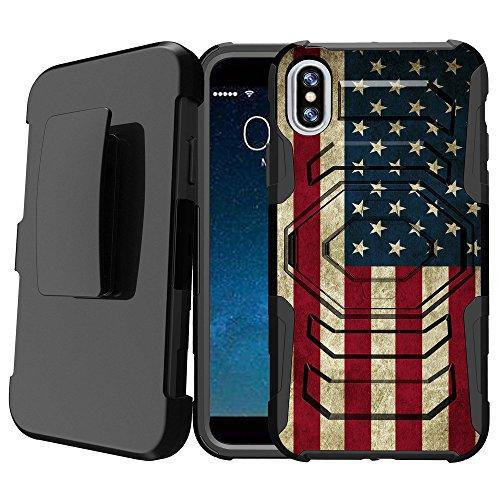 iPhone X Schutzhülle mit Ständer, Apple iPhone X Rugged Case [Armor Reloaded] Schutz Impact iPhone X Fall [iPhone X Schwerlastträger Fall] W/Ständer + Holster, American Flag USA American Flag-handy-fall