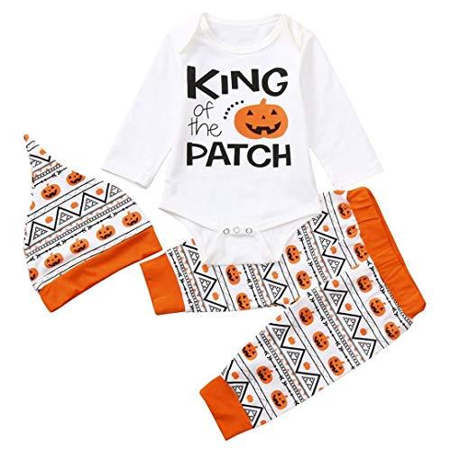 (Baby Halloween Brief Kürbis Strampler Overall + Hosen + Hut Set Kleidung)