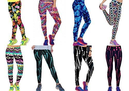 Bigood Femme Pantalon Carotte Leggings Yoga Collant Haute Taille Elastique Slimmer de Sport MulticoloreH