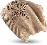 FashionCHIMP Feinstrick Damen Beanie-Mütze mit Stern-Applikation, Strass-Steine, Cashmere (Rosa)