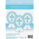 Mini Honeycomb radiante Cruz Azul religiosa decoración, Pack de 3