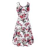 VRTUR Damen Casual O-Ausschnitt Floral Slim Sleeveless Strandkleid Mini Blumendruck Weste Minikleid