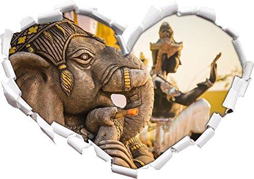 Elephant divinità in forma di cuore Thailandia nel formato sguardo, parete o adesivo porta 3D: 92x64.5cm, autoadesivi della parete, decalcomanie della parete, Wanddekoratio