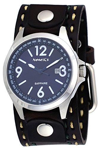 Nemesis DBDT251L Men's Signature Sapphire Collection Blue Dial Wide Leather Band Watch