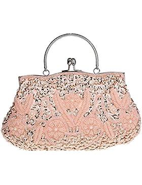 Lifewish Frauen Abendtasche Perlen Sequin Design Metallrahmen Kissing Lock Satin Interieur Abend Clutch