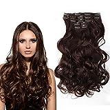 Bella Hair Remy Synthétique Handmade Extensions Clip Cheveux à Corps Vague 20 Pouces Couleur Naturelle Foncé Auburn #33