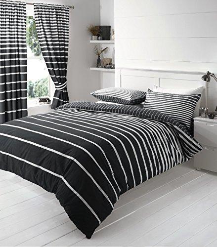 Linear Streifen Bettbezug Bettwäsche Sets, schwarz, King Size -